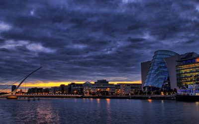 Samuel Beckett bridge and Convention Center in Dublin, Ireland